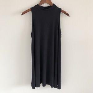 Soprano Mock Neck Trapeze Black Mini Dress S